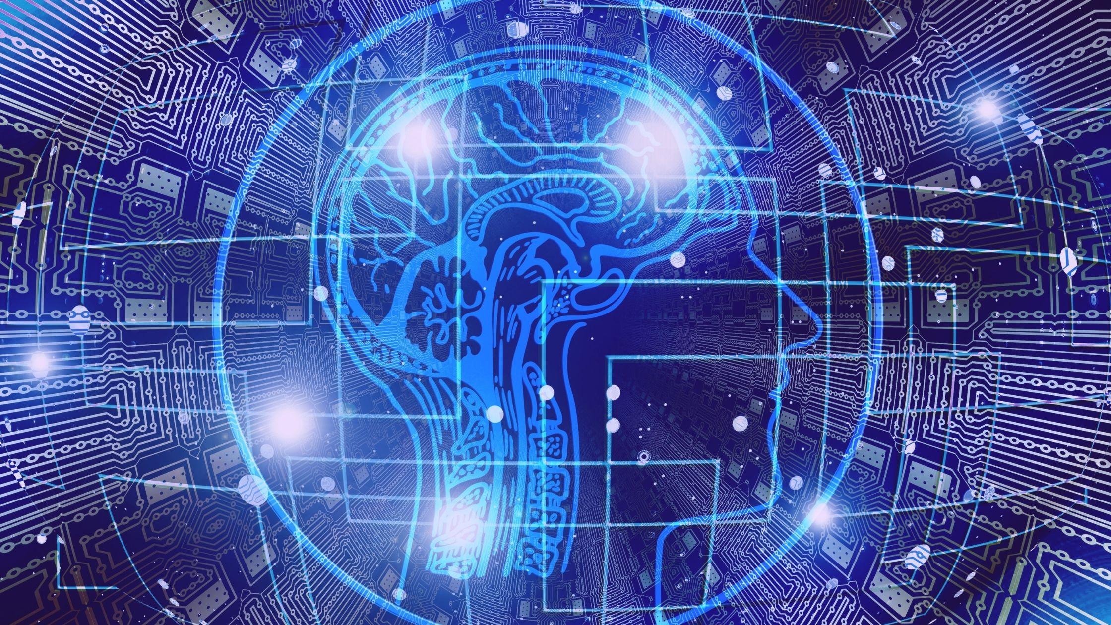 obrys głowy natle układu scalonego dotreningu pamięci