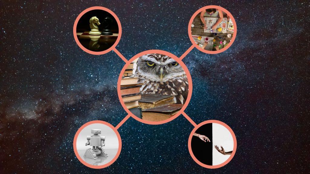 sowa zksiążkami, szachy, zbliżające się dłonie, robot, sztuka natle galaktyki