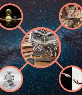 sowa z książkami, szachy, zbliżające się dłonie, robot, sztuka na tle galaktyki