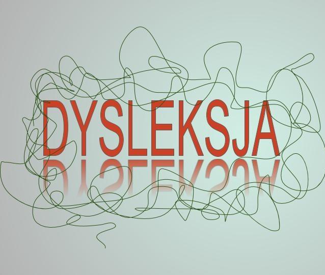 czerwony napis dysleksja z linią krzywą na około