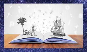 Ilustracja pokazuje siłę wyobraźni. Naotwartej książce rycerz podpalmą iżaglowiec. Książka leży nastole. Ramka imitująca rozgwieżdżone niebo.