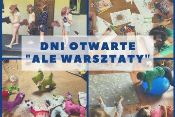Zaproszenie na Dni Otwarte, zdjęcia z zajęć dla dzieci w tle: dziewczynki w kowbojskich kapeluszach z konikami na patyku, dzieci rysujące, pluszaki z filcu, dzieci na dywanie