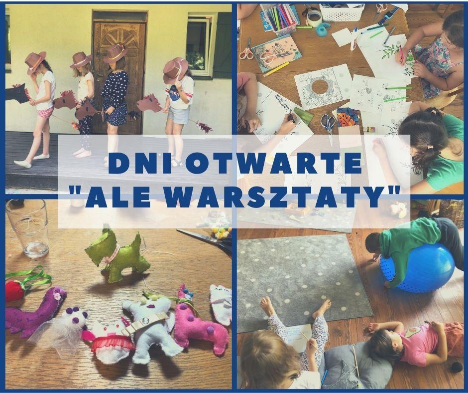 Zaproszenie naDni Otwarte, zdjęcia zzajęć dla dzieci wtle: dziewczynki wkowbojskich kapeluszach zkonikami napatyku, dzieci rysujące, pluszaki zfilcu, dzieci nadywanie